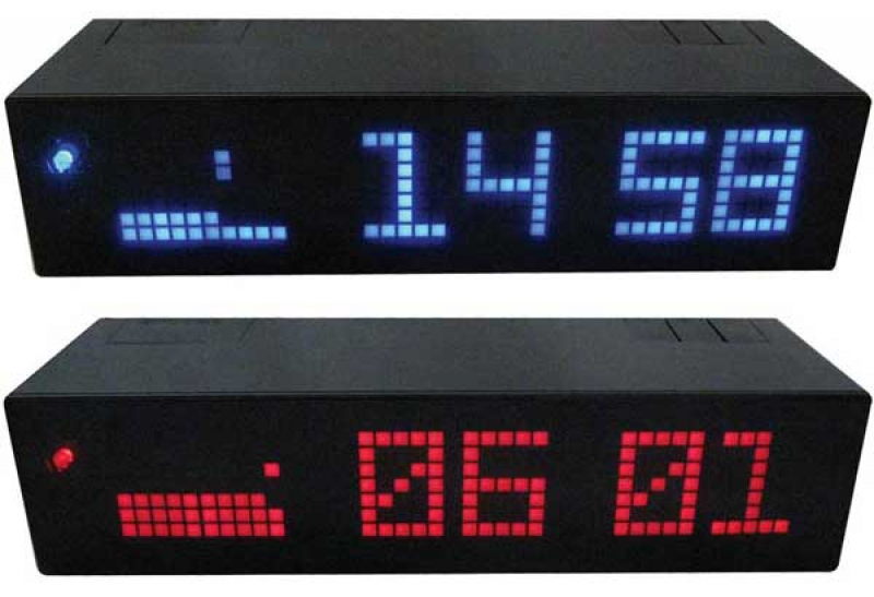 ... second alarm clock alarm clock snooze with black x red LED x blue LED