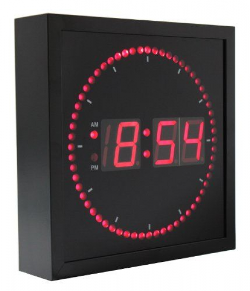 LED Wall Clock with Circling LED second indicator - 10 Red LED ...