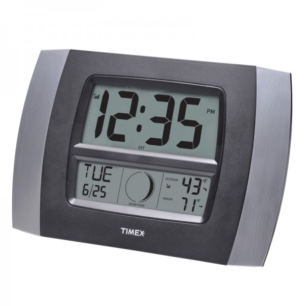 Timex 11.5 Atomic Digital Wall Clock with Temperature / Moon Phase ...