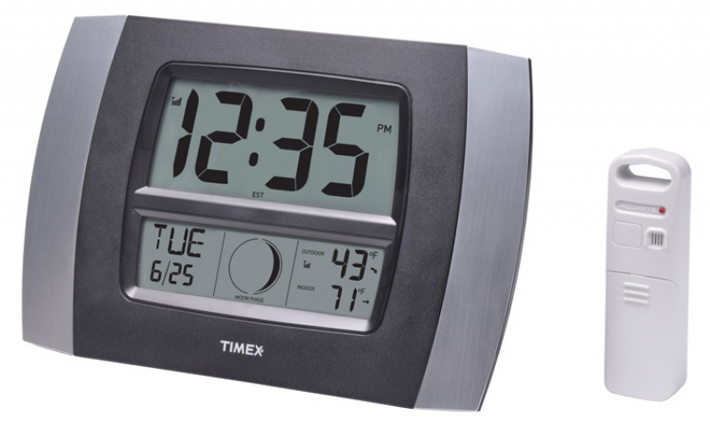 Timex 75331T 11.5 Atomic Digital Wall Clock with Temperature/Moon ...