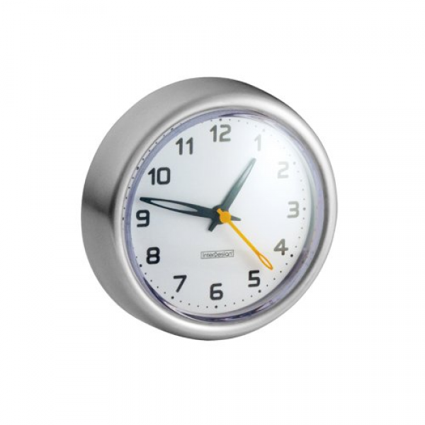 Details Of InterDesign Forma Suction Clock, Brushed Stainless Steel