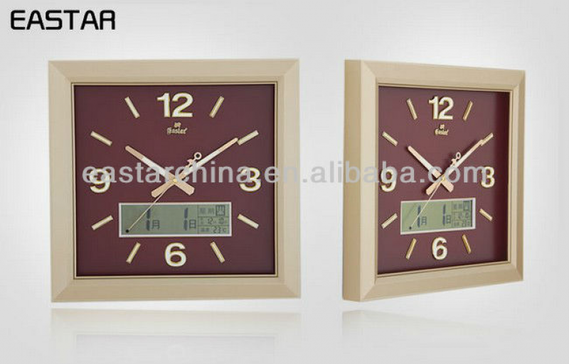 Square digital wall clock glow in the dark (Luminous numbers and hands ...