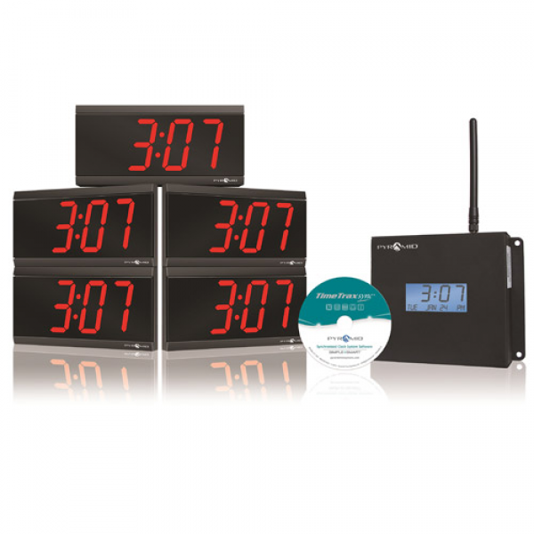 Pyramid TimeTrax Sync Wireless Clocks in a Box Digital Bundle ...