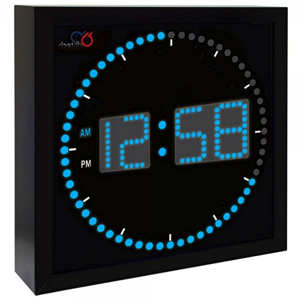 Digital Wall Clock LED Light Large 10 inch Square Blue Second ...