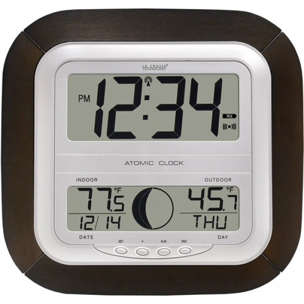 La Crosse Technology Digital Atomic Wall Clock with Moon Phase, Mocha