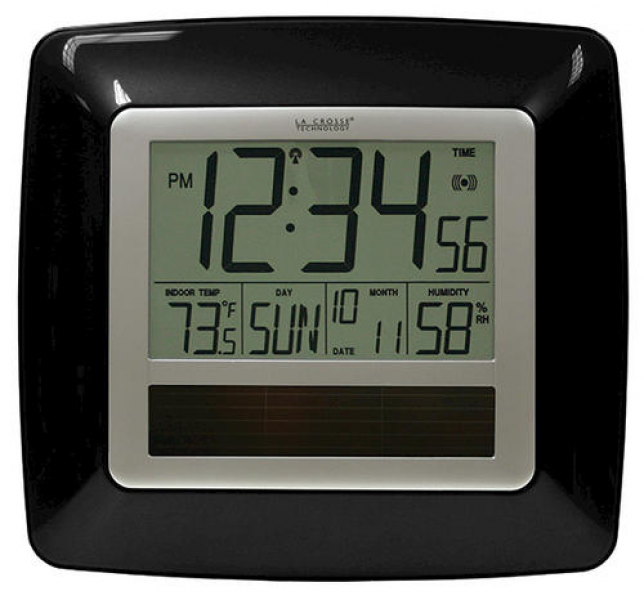 La Crosse Technology Solar Atomic Digital Wall Clock with Indoor ...