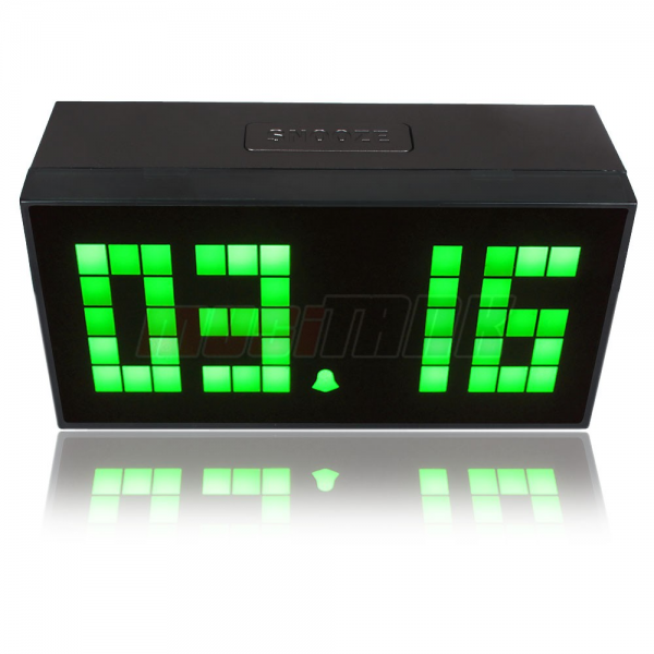 Details about Green Digital Alarm Clock LED wall/desk calendar weather ...