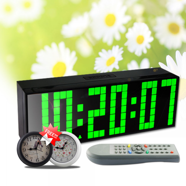 Digital Remote Control Wall Table LED Alarm Clock Countdown Stopwatch ...