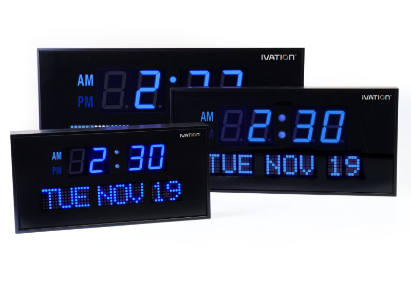 Clock Radio Ivation Big Oversized Digital Blue LED Calendar with Day ...