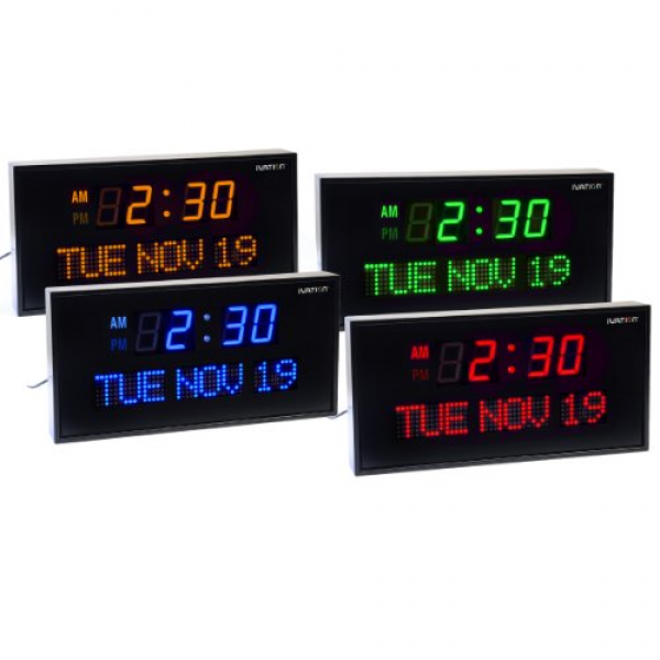 Details about Ivation Big Oversized Digital Blue LED Calendar Clock ...