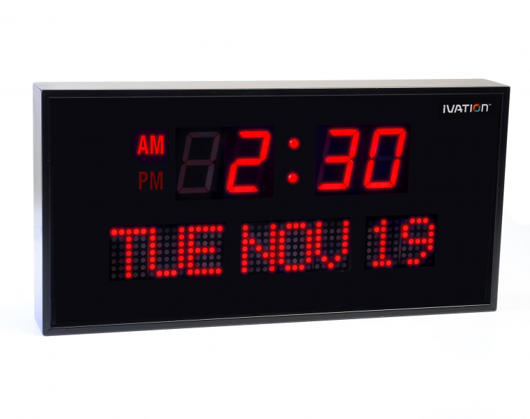 Digital Blue LED Calendar Clock with Day and Date - Shelf or Wall ...