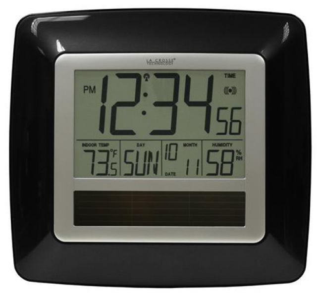 La Crosse Technology WT-8112U-BK Solar Atomic Digital Wall Clock from ...