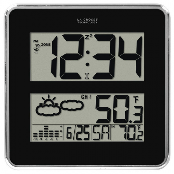 La Crosse Atomic WWVB Digital Wall Clock with Forecast & Weather