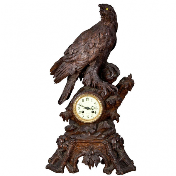 Antique Carved Wood Eagle Table Clock Swiss 1900 at 1stdibs