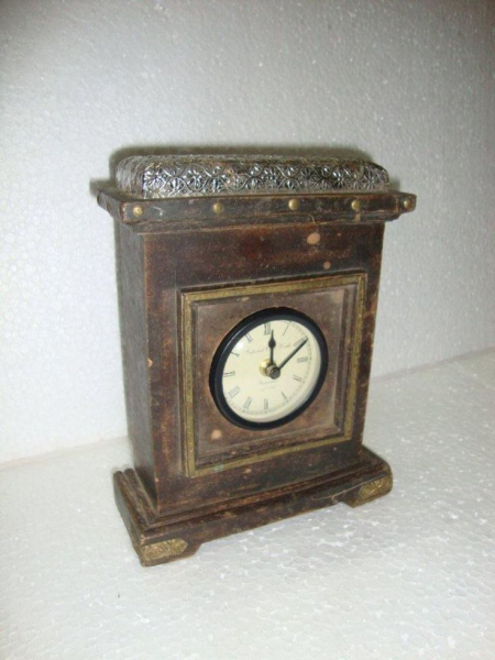 ... Birmingham Antique White Metal Fitted Wooden Table Clock, Replica