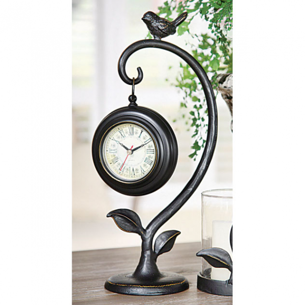 by theme bird items metal desk top clock with bird