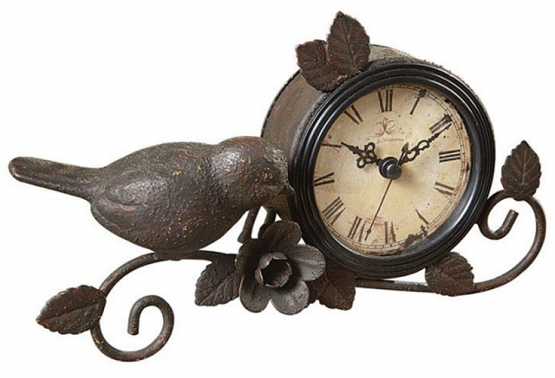 Metal Mantel Clock | Decorative Desk Clock | Bird Table Clock Antique ...