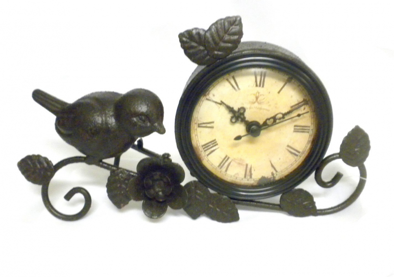 Shabby Cottage Chic Metal Bird Desk Clock Home Decor GET PRICE