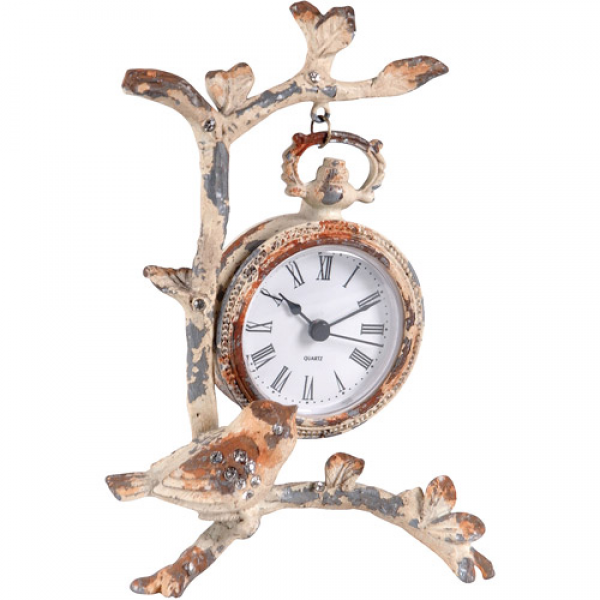 Wilco Creme Birds and Leaves Metal Table Clock, Creme - Walmart.com
