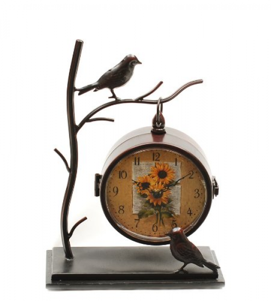 Ashton Sutton Table Clock, Metal Bird Case