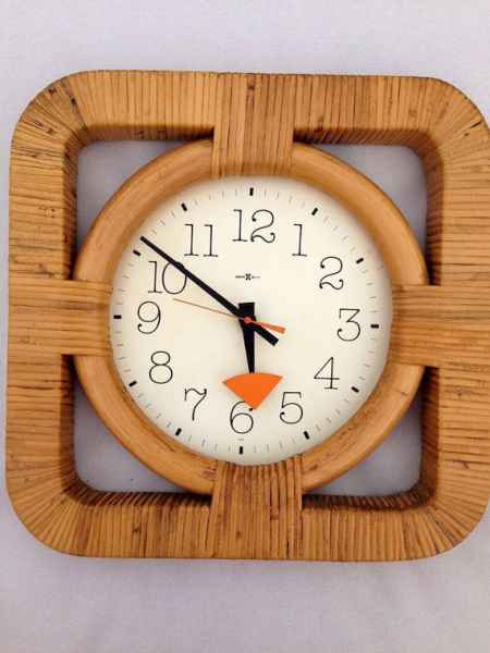 Vintage Howard Miller Rattan Mid Century Wall Clock WORKS Orange 1970s
