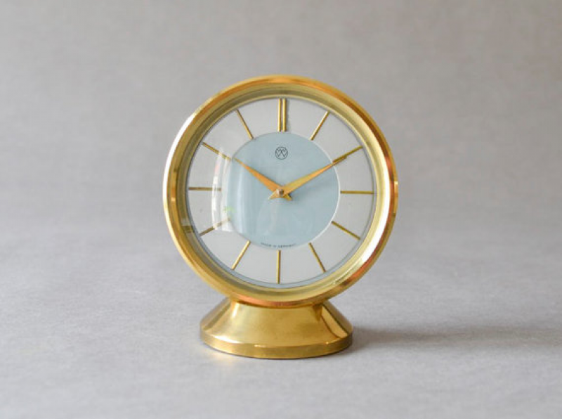 Vintage brass desk clock table clock Weimar GDR East German Mid ...