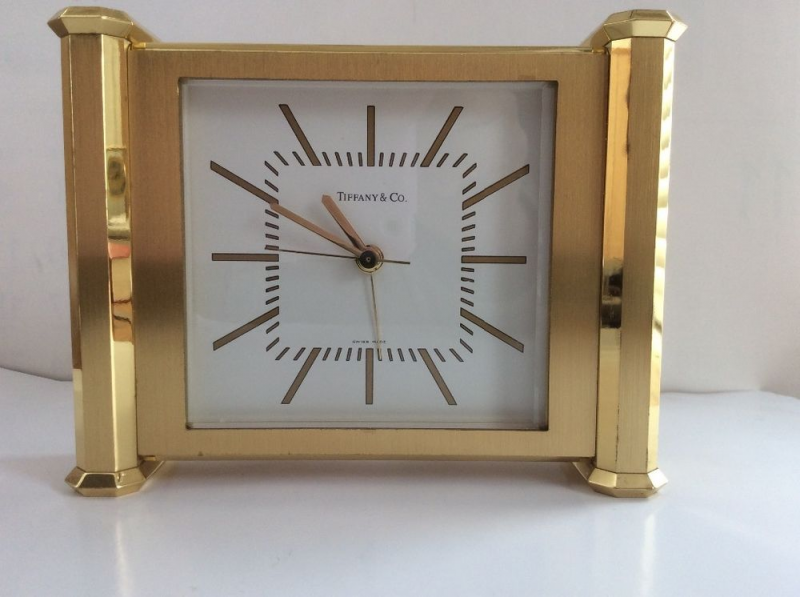 Vintage Tiffany & Co brass desk clock, Alarm - Quartz , SWISS | eBay