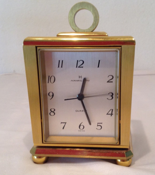 Vintage BRASS Rotating HAMILTON Desk Clock Hygrometer Thermometer ...