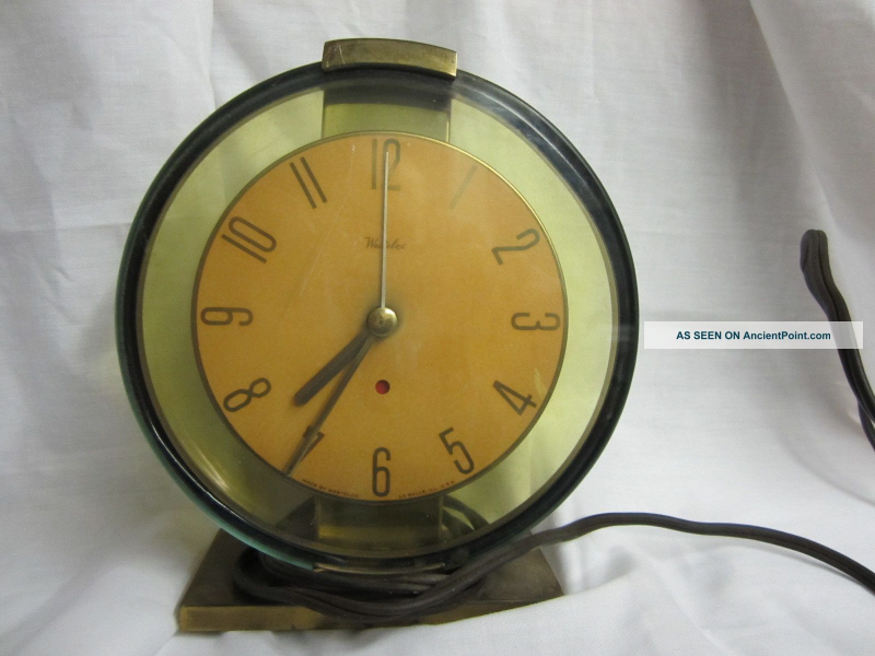 Antique Brass Westclox Oracle Art Deco Electric Desk Clock Works ...