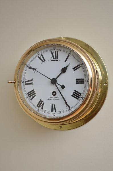 Antiques Atlas - 7″ Brass Ship's Clock By Smith's Cricklewood