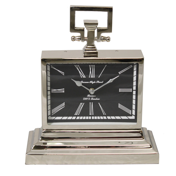 49 Bond Street Classic 16-inch Polished Nickel Metal Table Clock