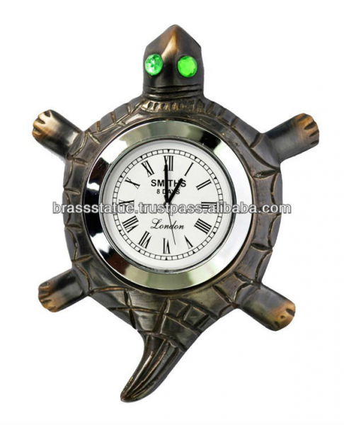 Table clock Tortoise with stone eye antique Finish table clock
