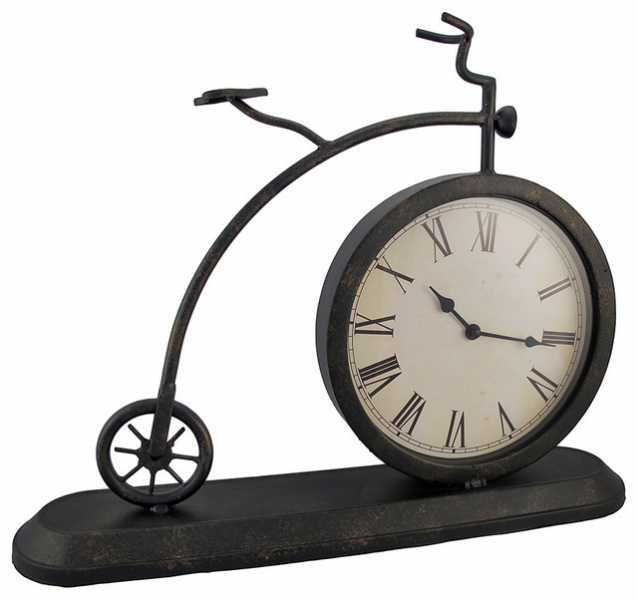 Antique Metal Bicycle Mantel or Table Clock - Traditional - Clocks ...