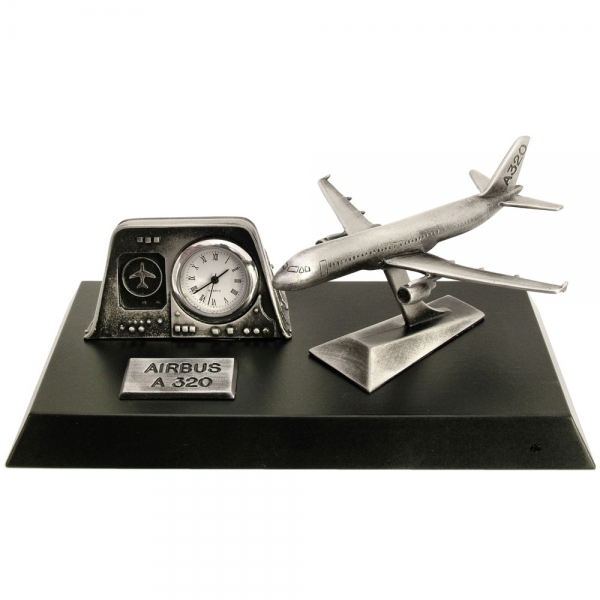 ... Clocks › Clocks with Models › Pewter Desk Clock - Airbus A320