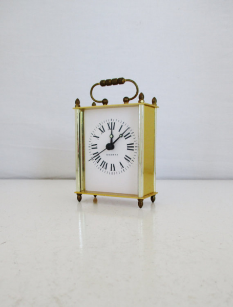 Quartz Clock Brass Roman Numeral Gold Mantle Clock Vintage Desk Clock ...