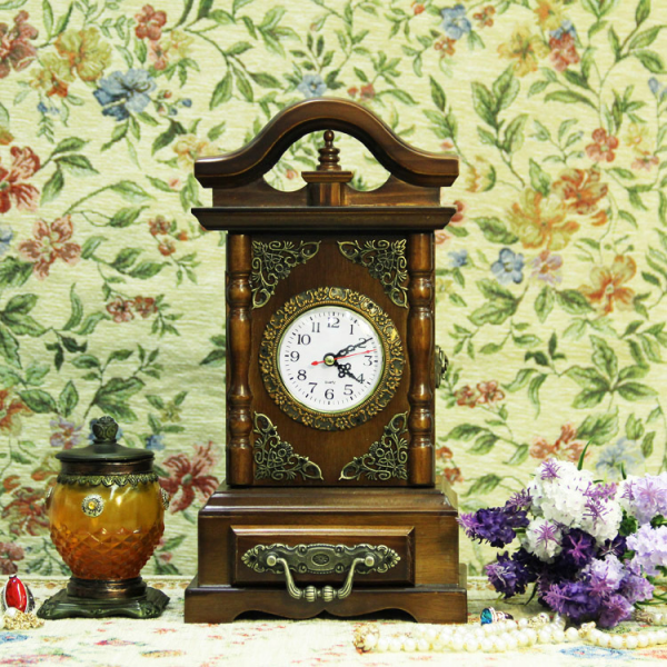 ... decorated mantel clock vintage baroque wood table clock desk clock