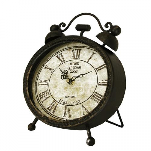 ... Antique-Style Metallic Black Weathered Oval Roman Numeral Desk Clock