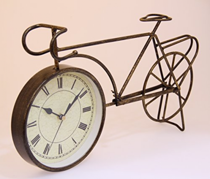 Antique-Style Table/Desk Clock - 6 Bronze Bicycle With Roman Numerals ...