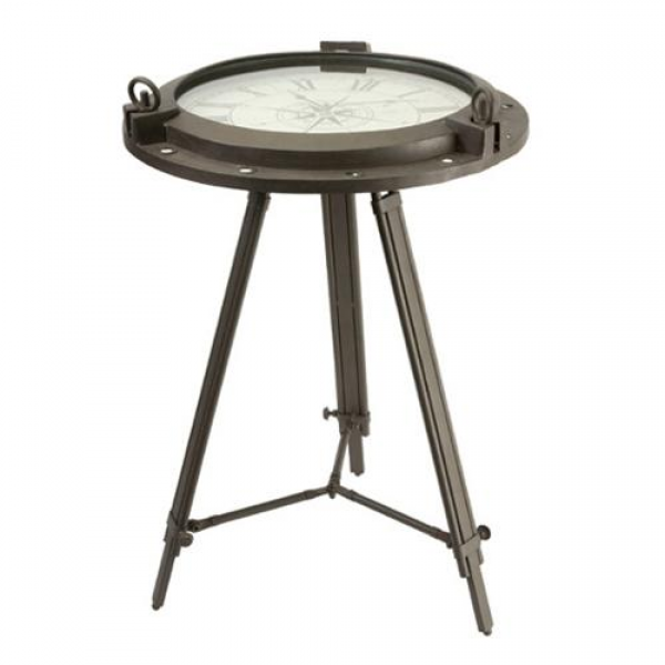 Rustic Antique-Style Round Tripod End Table with Roman Numeral Clock ...