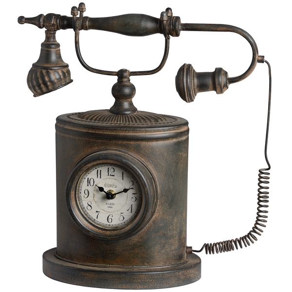 ... authentic vintage telephone clock is both decorative and functional
