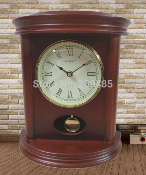 2948 real wooden antique desk clock/wooden mantle clock with pendulum ...