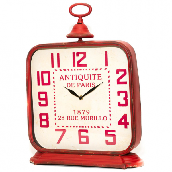 Vintage Style Metal Table Clock in Red | Buy Decor Clocks Online ...