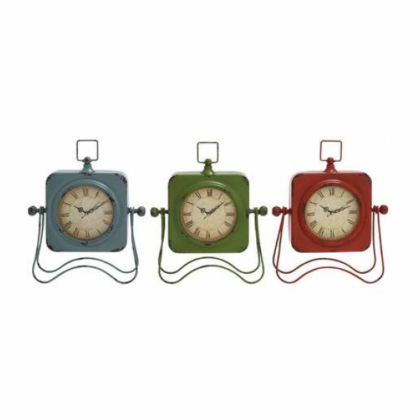 Benzara Adorable Metal Table Clock Assorted Set of Three with Vibrant ...