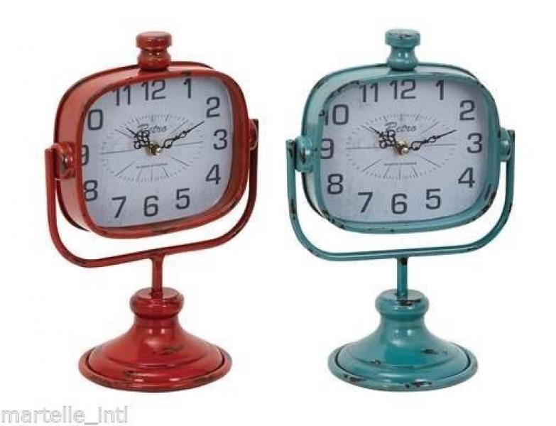 Durable Metal Table Clock in Red and Green Color - Set of 2 Free Ship ...