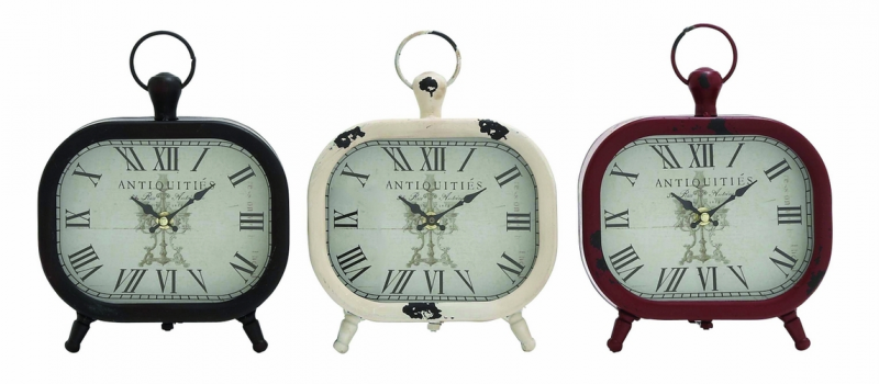 Home Decor Clocks Shanghai Antique Styled Metal Table Clock 3 Assorted ...