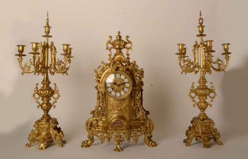 Italian Antique 3 Piece Clock Candelabra Set Brass Neoclassical with ...