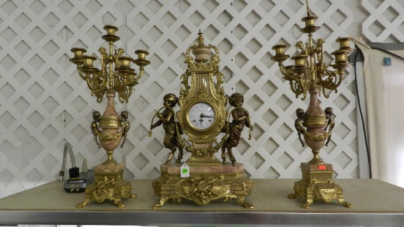 ... PIECE IMPERIAL CLOCK & CANDELABRA CUPID SET MADE IN ITALY NEWER