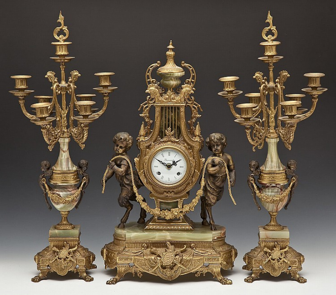 Imperial 3 Piece Clock Garniture - by Cordier Auctions & Appraisals