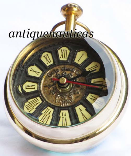 ... Polished Nautical Antique Look Brass Table Top Clock Maritime Decor