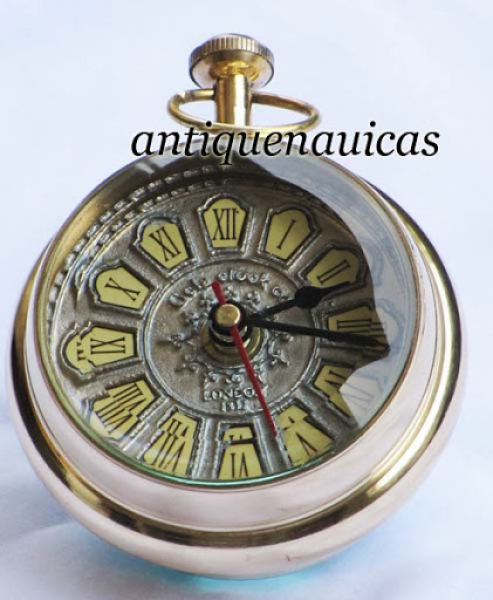 ... Polished Nautical Brass Paper Weight Clock, Antique Look Table Clock